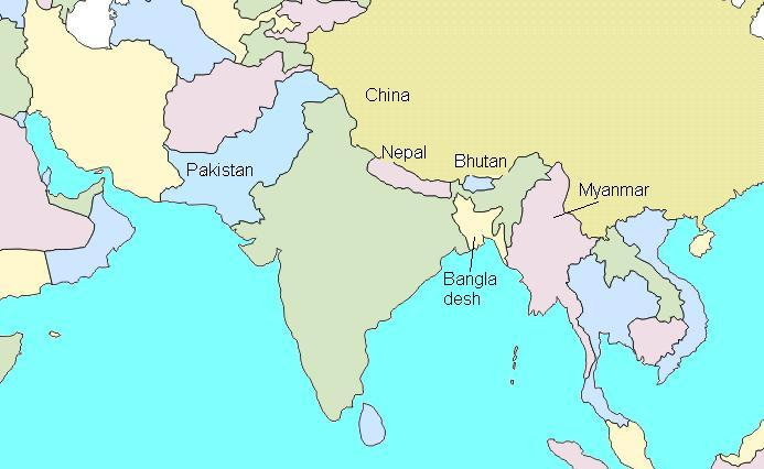 Countries Bordering China Map.India Bordering Countries Quickgs Com