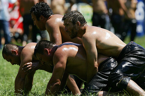 Strange and Uncommon Sports oil wrestling