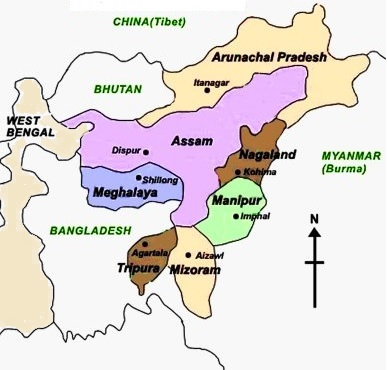 Indian State which has maximum neighbouring states - QuickGS.com on india map with lakes, india map with important cities, india map with capitals, india map with roads, india map with rivers, india map with airports, india map with railroads, india map with mountain ranges,
