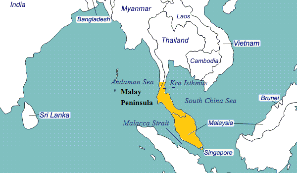 Malay Peninsula on World Map